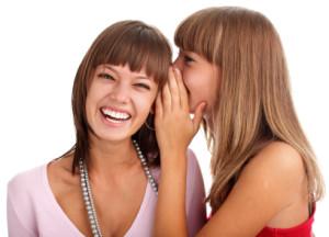woman tells to the girlfriend good news